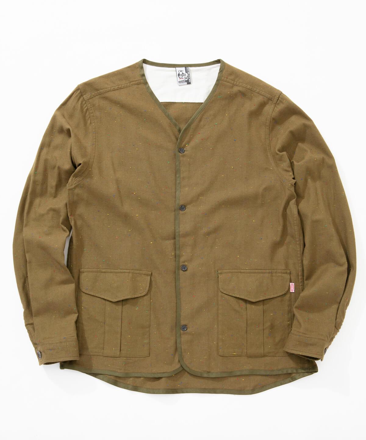 d14212a3ceb7fe No coller Nep Shirt(ノーカラーネップシャツ(トップス/シャツ))