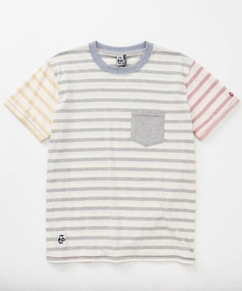 ボタニカルボーダーポケットTシャツ